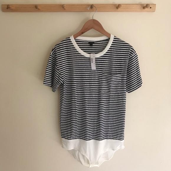 J. Crew Pocket T-shirt Bodysuit Striped Medium 5786ee4a3